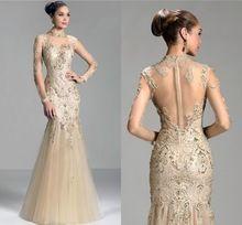 Designer Lange Mouw Prom Jurken Hoge Hals Sheer Terug Kralen Applicaties Beige Elegante Formele Avondjurken vestidos de gala 2015(China (Mainland))