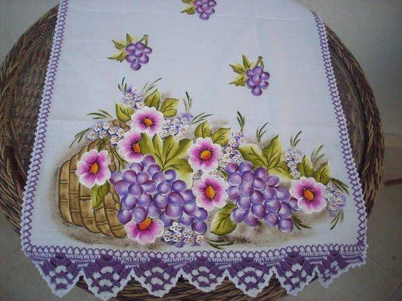 Pano de Copa, pintura em tecido e croche | Artesanato e Cia | 15CBA3 - Elo7