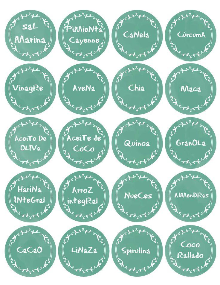 Etiquetas imprimibles cocina