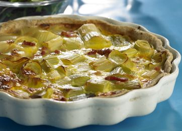 (2-3 pers.)1 salt mørdejsbund, bagt som nedenfor beskrevet3-5 porrer (1 bdt.)75 g bacon i små tern3 store æg1½ dl tykmælk/ymerSalt og peber75 g revet