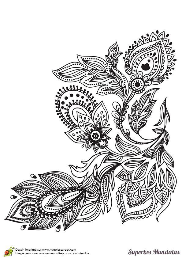 Coloriage d'un superbe mandala en forme de fleur stylisé assez facile - Hugolescargot.com