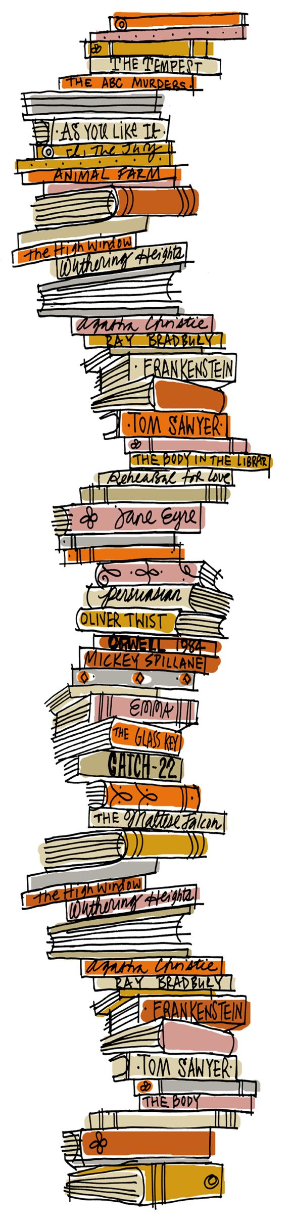Happy National Book Day! A higgley piggley stack of books which I did for Smithsonian Magazine.  Copyright Alanna Cavanagh 2013