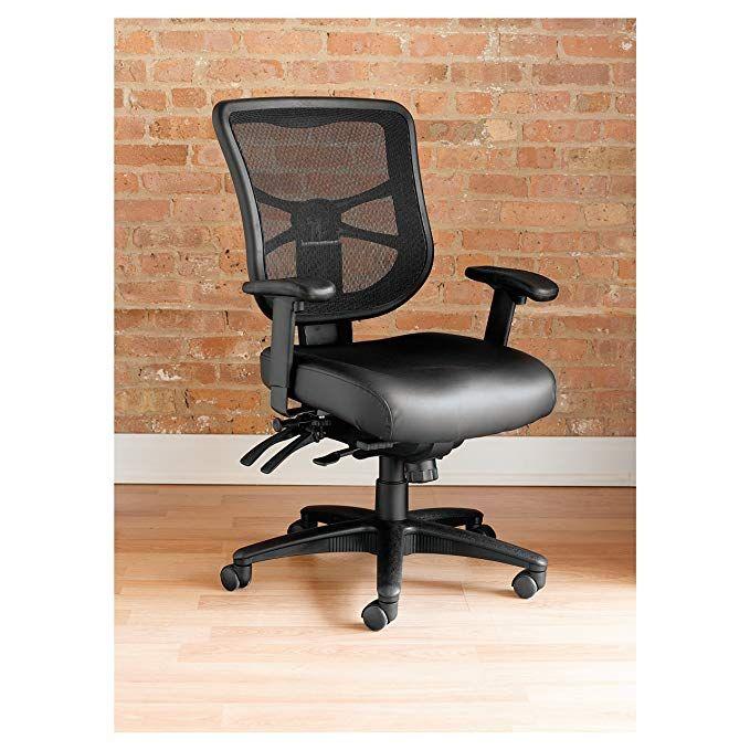Alera El4215 Elusion Series Mesh Mid Back Multifunction Chair Black Leather Review Mesh Task Chair Task Chair Alera