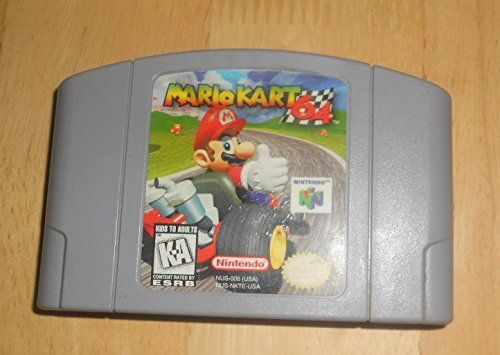 Nintendo 64 Mario Kart Video Game. Mario kart classic racing. Mario Kart 64 is am iconic game that set the standard for all other games to follow. Battle friends in battle mode. Race the legendary Mario Kart circuits.