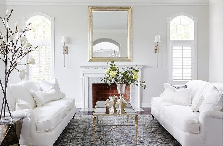with an Antiqued Mirrored Coffee Table, Transitional, Living Room ...