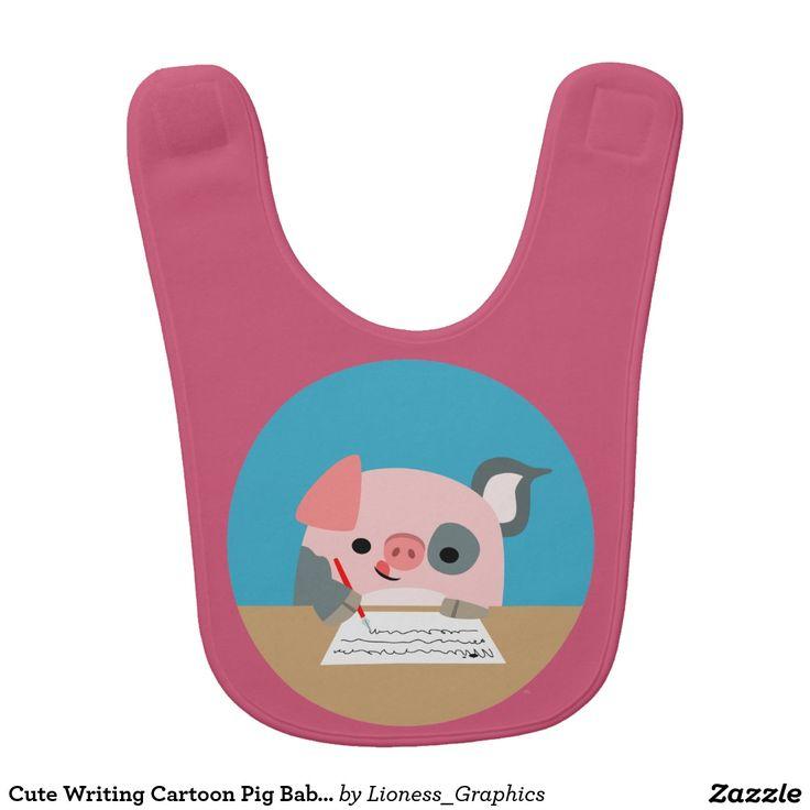 Cute Writing Cartoon Pig Baby Bib
