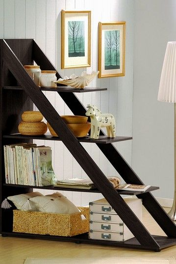 Prefect unit to serve as room divider in smaller space. Separate a dining area from a living room or bedroom from a living area in a small studio space >  Psinta Modern Shelving Unit - Dark Wenge on HauteLook