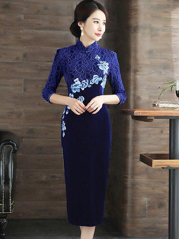 Embroidered Velvet Qipao / Cheongsam Dress with Long Sleeve