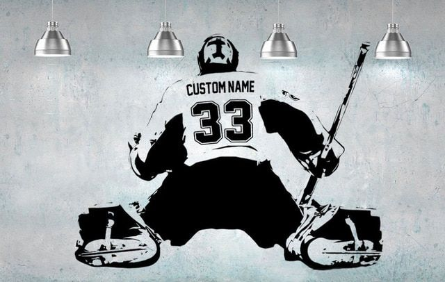 Hockey Goalie Player Wall Art Decal Sticker Personalized Name Number Home Decor Wall Stickers For Kids Room Boy Bedroom A184 Review Decal Wall Art Wall Stickers Kids Sticker Wall Art