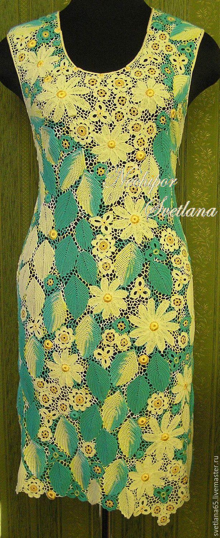 """Купить Авторское платье """"Летнее настроение.Солнечный сад"""". Ирландское кружево - лимонный, цветочный, бирюза"""