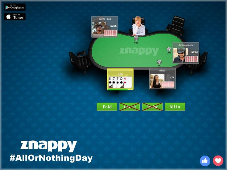 Today is International Day where you can bet #allornothing! Give it all or nothing! Happy #AllOrNothingDay  Play now Znappy Poker: http://poker.doizece.ro #ZnappyGames #Poker