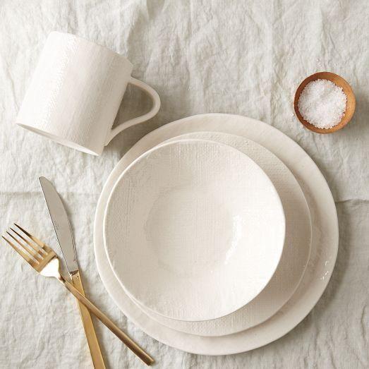 Linen Textured Dinnerware Set - want! / West Elm