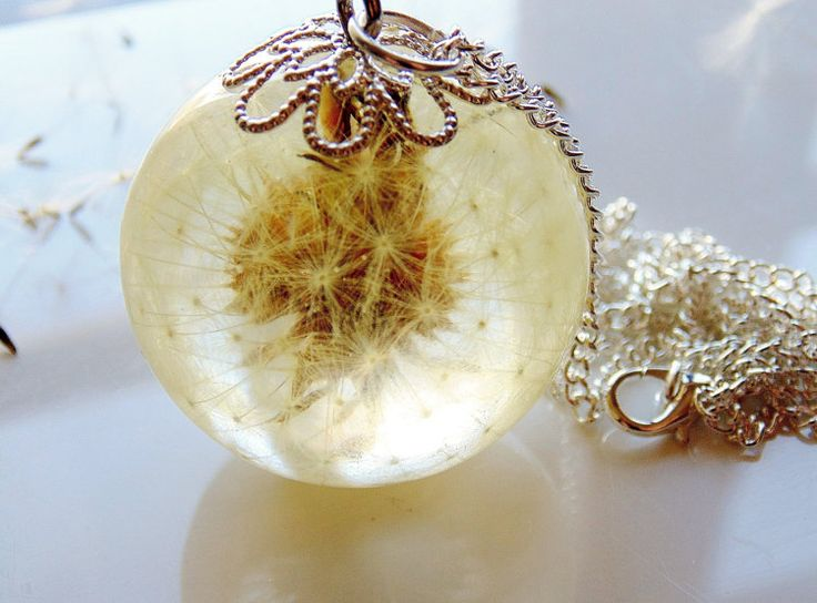 Dandelion Necklace Make A Wish Eco Resin Orb от WishesontheWind