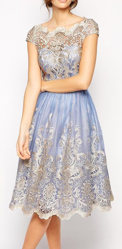 Chi Chi London Premium Metallic Lace Prom Dress with Bardot Neck - Cornflower, currently sold out. ~ Wha??? Sold out?!?!