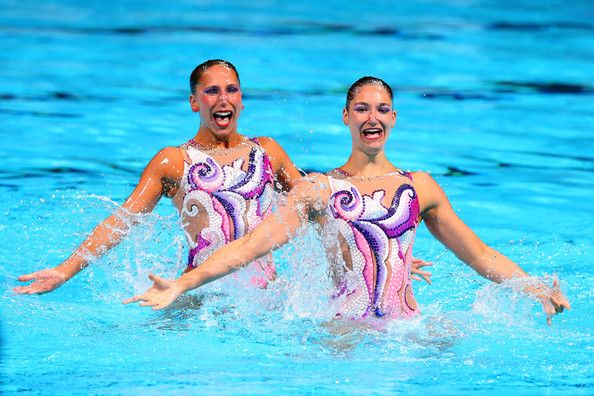 Anja Nyffeler and Pamela Fischer of Switzerland compete in the Synchronized Swimming Duet Technical final on day two of the 15th FINA World Championships at Palau Sant Jordi on July 21, 2013 in Barcelona, Spain.