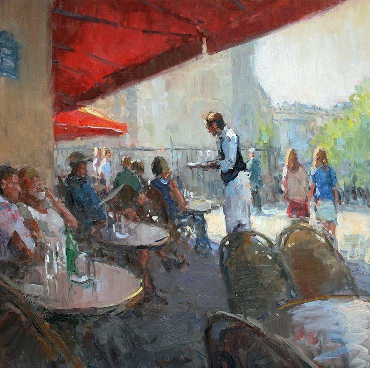 """Richard Oversmith ~ """"Paris, Un Cafe Creme, s'il Vous Plait"""" ~ Oil  30 x 30"""