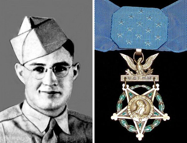 Valor award for SSG Howard E. Woodford (1921-1945) US Army. Medal of Honor (posthumously) for conspicuous gallantry and intrepidity on 6 June 1945, at Tabio, Luzon, Philippine Islands. By his daring, skillful, and inspiring leadership, as well as by his gallant determination to search out and kill the enemy, SSG Woodford led an inexperienced unit in capturing and securing a vital objective, and was responsible for the successful continuance of a vitally important general advance.