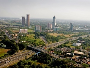 Lippo Village, Indonesia - all the major  commercial buildings. Located 30 kilometres to the west of Jakarta, the Lippo Village township which began in the early 1990's.