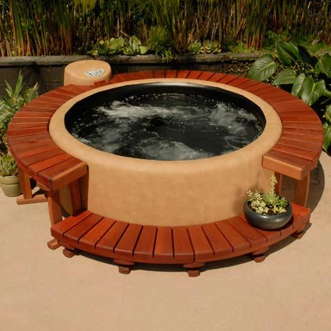 Portable softub (hot tub) with redwood decking