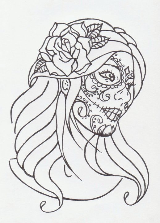 Sugar Skull Girl By Avengedginge Coloring Pages Printable And Book To Print For Free Find More Online Kids Adults Of