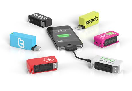 Powershot.  The Powershot is a portable power source for mobile devices. Charge it using any USB port, hang it on your keyring, and charge up your device whenever and wherever you need it.  Great for travel.