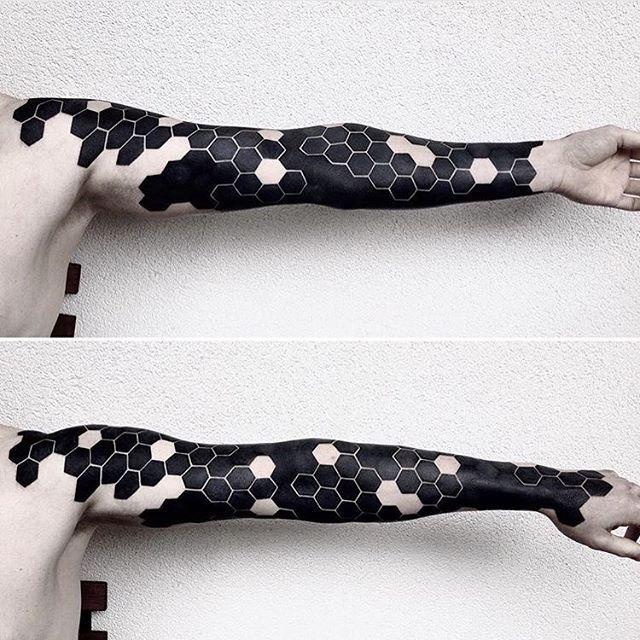 Dope #blackwork hexagon sleeve by artist @jessimanchester! #tattoo #tattoos…
