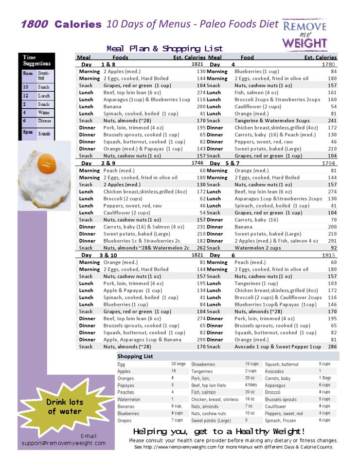 Simple one page printable 10 Day of a 1800 Calorie Paleo Diet Menu Plan for a Health Life.