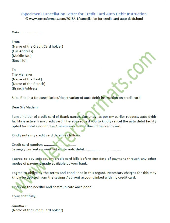 Browse Our Sample Of Credit Card Cancellation Letter Template Lettering Letter Templates Official Letter Template