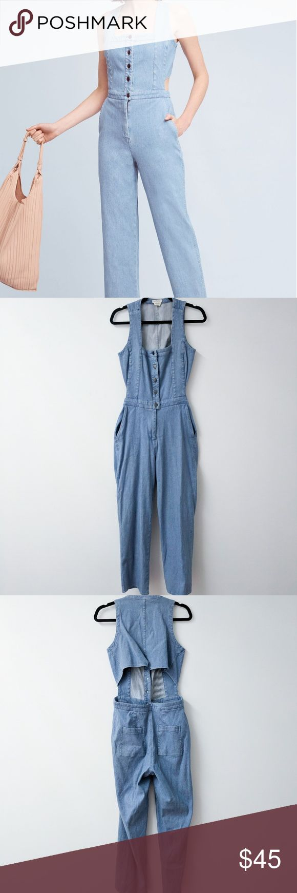 """Anthropologie Cornflower Denim Jumpsuit 6 Petite Amazing Anthropologie denim jumpsuit! Size 6P, however, I'm 5'10"""" and this length worked for me? Great for longer torsos. Check the details in the last photos for more info on measurements. The back is open and I receive endless compliments when wearing this. Worn maybe 5 times? My size changed so I no longer fit. Thanks for looking! 👽✌️ Anthropologie Pants Jumpsuits & Rompers"""