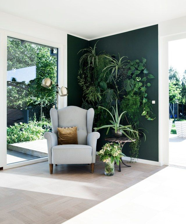 """While charcoal and navy will always have our heart, we see deep green hues coming to the fore,"" says Waterman, who hails from Australia but now lives in New York. ""These shades offer a sense of peace and provide the perfect canvas to contrast earthy textures, leather, and wood."" Play up the color with matching plants, as in this wall, ""for a verdant assault on your senses."""