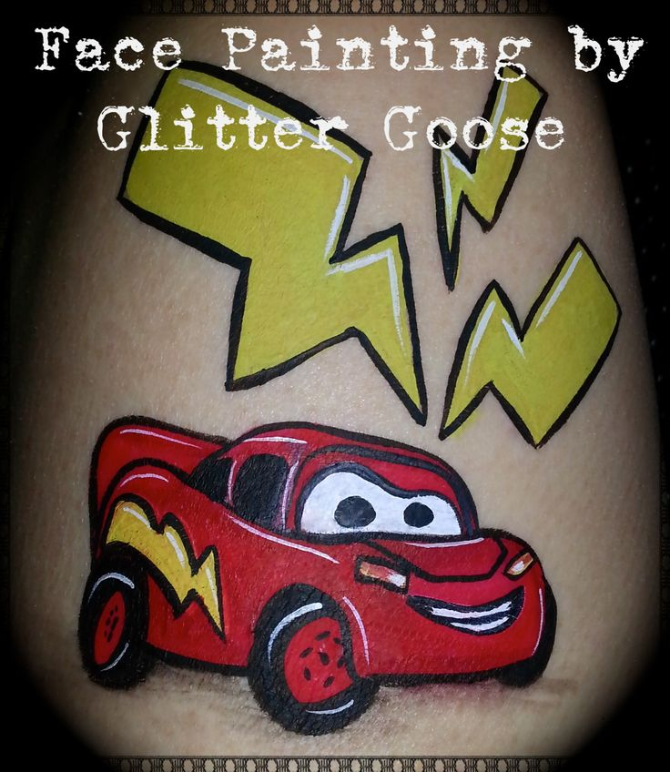 Lightning McQueen From Cars! Face Painting By Glitter Goose. Race Car Paint  Painter