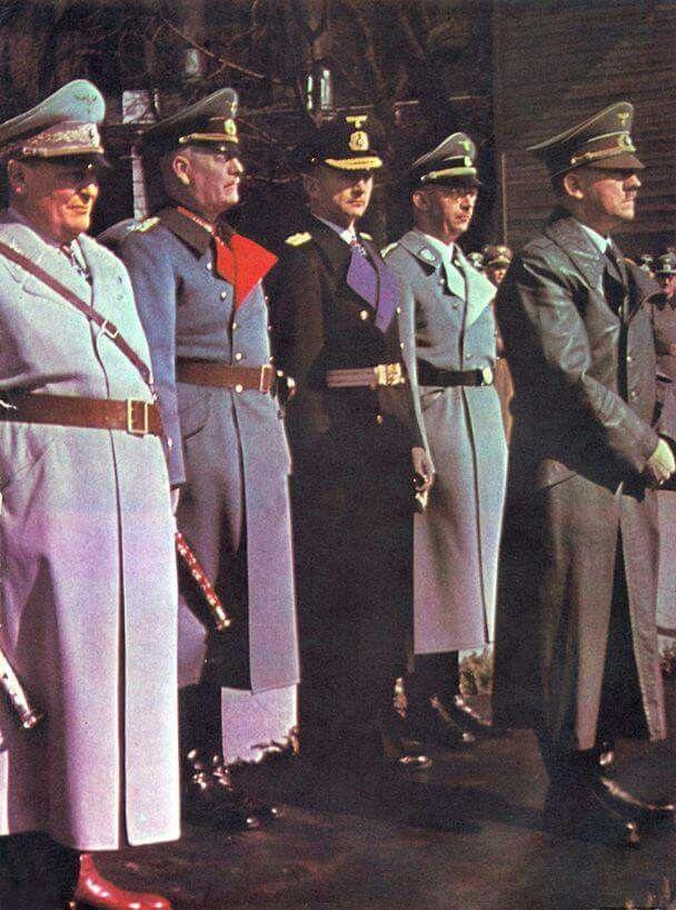 LR: Luftwaffe Marshal Hermann Goring,  Oberkommando der Wehrmacht Wilhelm Keitel, Admiral Karl Dönitz, Reichsführer-SS Heinrich Himmler, Adolf Hitler