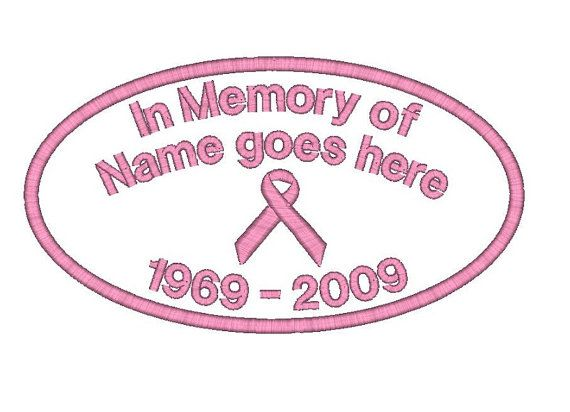 2 (two) Custom Embroidered Name Patches Patch Breast Cancer Memory Memorial Customized Personalized Tag Pink Ribbon Awareness Iron on Sew on...