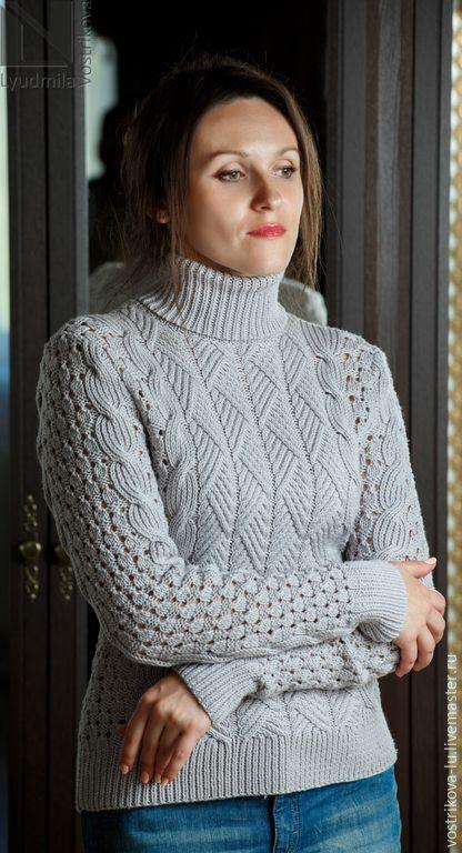 """Купить Свитер """"Когда тепло..."""" - серый, свитер, свитер вязаный, свитер спицами"""