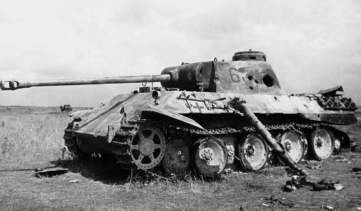 Panther Ausf D nr. 634 destroyed during heavy fighting with several penetrations to the turret