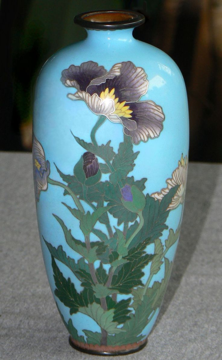 Japanese Cloisonne Enamel Vase With Poppies Shippo Yaki
