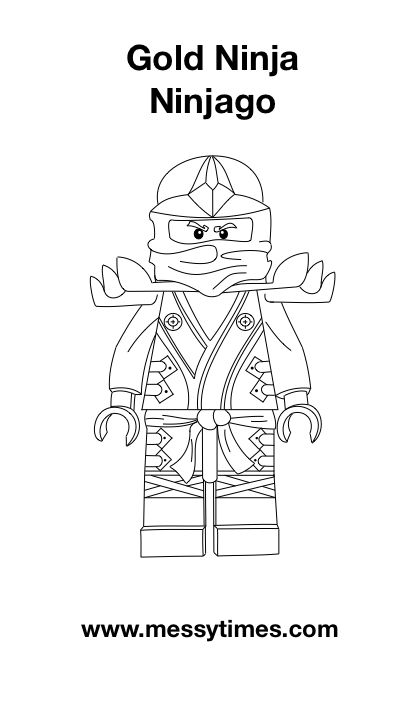 Lego Ninjago Gold Ninja Colouring In birthday party