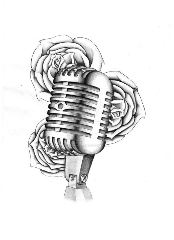 Grey Roses And Microphone Tattoo Drawing