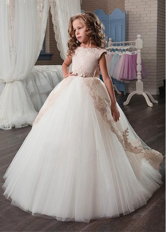Rabatt Marvelous Tüll & Satin Juwel-Ausschnitt-Ballkleid-Blumen-Mädchen-Kleide… – Steph Mey