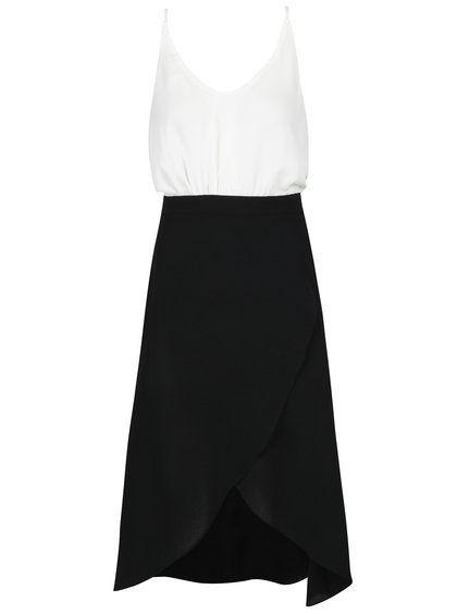 Bílo-černé šaty s překládanou sukní a páskem AX Paris