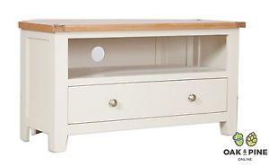 Dorset French Ivory / Cream Painted Oak & Pine Corner TV Unit Cabinet Free Del!!  | eBay