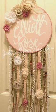 Joley Beam Designs, dream catcher inspired, baby door hanger, hospital door hanger, baby girl, nursery, shabby