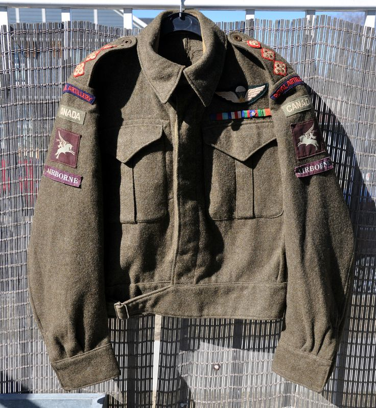 """A Canadian WW2 battledress to a captain in the Royal Artillery, likely a Canadian forward artillery observer in 2 FOU RA. The Captain reverted to Lieutenant rank at the war's end as the BD had only 2 pips, but marks showing that a 3rd was once present. These have been replaced and tacked in place, as have the Airborne strips which were removed in late 1944. The BD was the captain's best, """"walking out"""" BD rather than a new """"going home"""" uniform."""