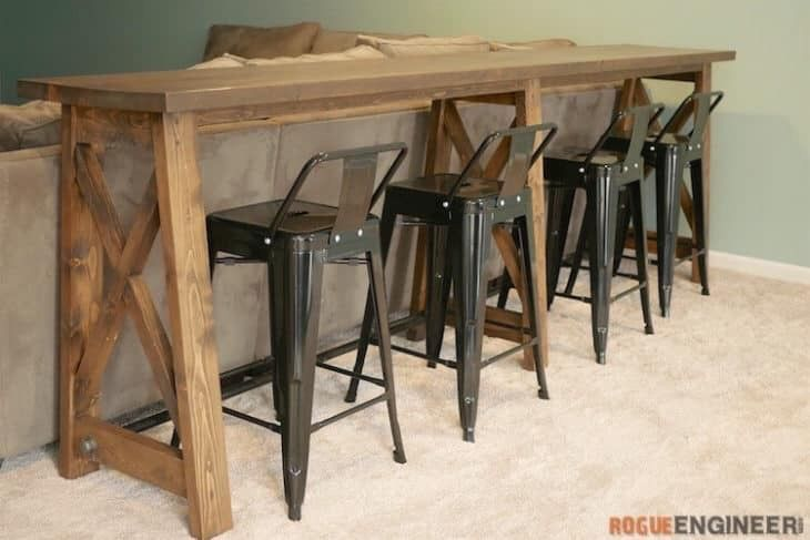 Ana White For Behind The Couch Down Stairs Bar Table Behind Couch Bar Table Diy Pub Table Sets