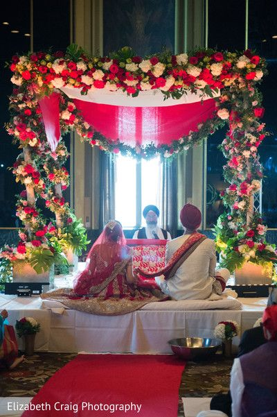 Beautiful Floral sikh wedding mandap. http://www.maharaniweddings.com/gallery/photo/90082