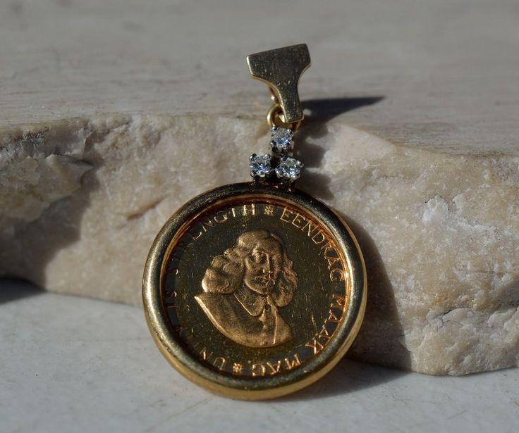 ESTATE 1968 SOUTH AFRICA 1 RAND GOLD DIAMOND PENDANT-22K 9K 14K-KM 63 #Pendant