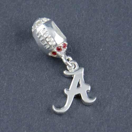 Alabama Charm Bracelet: Alabama Silver Football Charm Bead