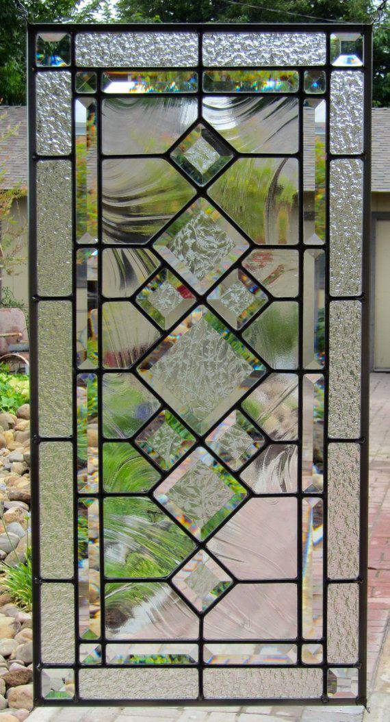 Elegant Beveled Diamonds Stained Glass Window by DebsGlassArt