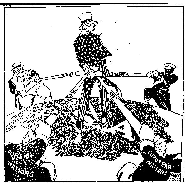 This is a political cartoon about the League of Nations. This cartoon shows Uncle Sam holding together the European countries. The League of Nations was an organization of nations who wanted to work together to settle disputes, prevent war, and protect democracy. Uncle Sam is trying to pull these countries together just like the League of Nations.