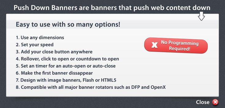 Push Down Banners - No Coding required.